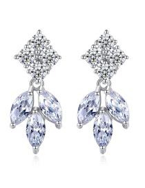 Fashion Platinum Inlaid Zircon Earrings