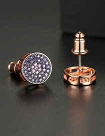 Fashion Rose Gold Micro-studded Stud