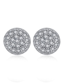Fashion White Zirconium White Gold Pavé Copper Inlaid Zirconium Stud Earrings