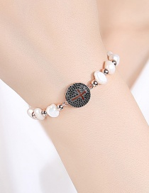 Fashion Black Beads Round Cross Pearl Adjustable Bracelet