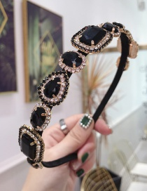 Fashion Black Cloth Hot Drilling Knotted Wide-brimmed Headband