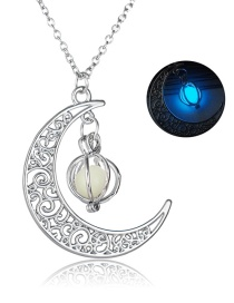 Fashion Sky Blue Moon Pumpkin Luminous Necklace