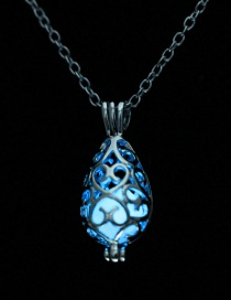 Fashion Blue Luminous Starry Night Pearl Fat Drops Open Openwork Necklace