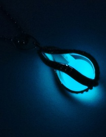 Fashion Light Blue Luminous Hollow Spiral Water Droplets Glowing Necklace