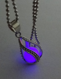 Fashion Purple Luminous Hollow Spiral Water Droplets Glowing Necklace
