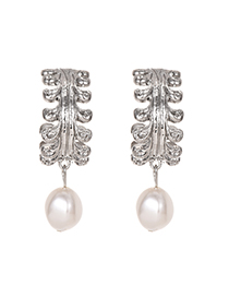Fashion Silver Alloy Round Pearl Stud Earrings