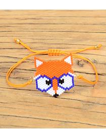 Fashion Orange Cartoon Fox Shape Woven Bracelet