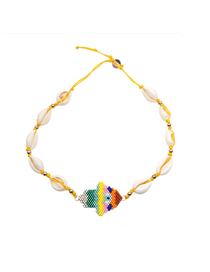 Fashion Color Woven Rice Beads Shell Colorful Palm Necklace