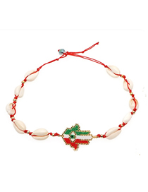 Fashion Color Palm Woven Rice Beads Shell Necklace