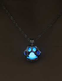 Fashion Sky Blue Cat Claw Luminous Cage Opens The Hollow Necklace