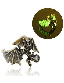 Fashion Ancient Bronze + Yellow Green Adjustable Luminous Lizard Men's Ring