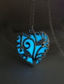 Fashion Sky Blue Luminous Ocean Heart Luminous S925 Silver Jubilee Hollow Necklace
