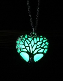 Fashion Yellow Green Luminous Life Tree Glowing Heart Necklace