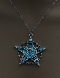Fashion Blue And Green Luminous Cranial Head Five-pointed Star Luminous Necklace