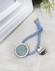 Fashion Blue Hair Ring + Disc Blue Color Diamond Full Drill Disc Head Rope Rubber Band