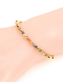Fashion Gold Diamond-shaped Rivet-shaped Open Bracelet
