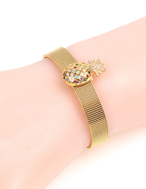 Fashion Gold Diamond-encrusted Pineapple Stainless Steel Mesh Strap Bracelet
