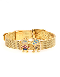 Fashion Boy: Girl: Gold Diamond Gold Stainless Steel Mesh Bracelet With Bracelet