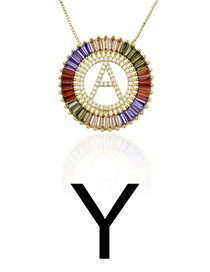 Fashion Y Gold Colorful English Alphabet Gold-plated Round Zircon Necklace