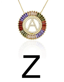 Fashion Z Gold Colorful English Alphabet Gold-plated Round Zircon Necklace