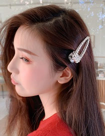 Fashion Silver Hair Clip Full Diamond Imitation Pearl Hairpin