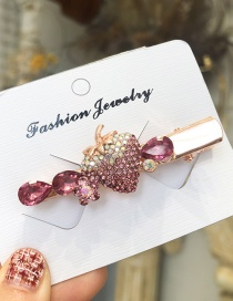 Fashion Pink Strawberry Color Diamond Hairpin