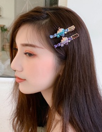 Fashion Blue Strawberry Color Diamond Hairpin