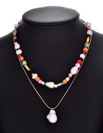 Fashion Color Alloy Beaded Pearl Resin Necklace Set Of 2