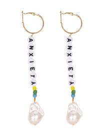 Fashion Gold Alloy Pearl Resin Letter Beaded Earrings
