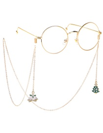 Fashion Gold Non-slip Metal Christmas Tree Bells Glasses Chain