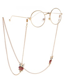 Fashion Gold Non-slip Metal Drip Owl Glasses Chain