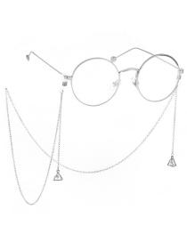 Fashion Silver Non-slip Metal Triangle Zircon Glasses Chain