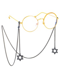 Fashion Black Hollow Six-pointed Star Copper Chain Glasses Chain