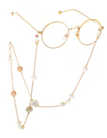 Fashion Gold Pearl Flower Metal Glasses Chain