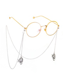 Fashion Silver Skull Glasses Chain