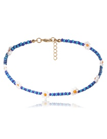 Fashion Blue Necklace Beaded Rice Beads Woven Flower Geometric Necklace