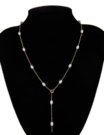 Fashion Gold Geometric Oval Fringed Pearl Necklace