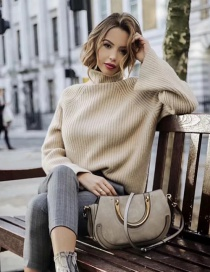 Fashion Khaki Rabbit Fur-blend Knit Sweater