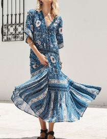 Fashion Blue Printed V-neck Dress