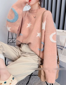 Fashion Pink Star Moon Pullover