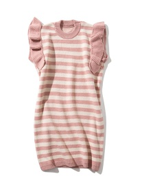 Fashion Pink Striped Wooden Ear Knit Dress