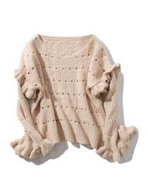 Fashion Beige Fungus Hole Pullover Sweater