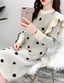 Fashion White Polka Dot Knitted Dress