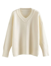 Fashion White V-neck Solid Color Pullover