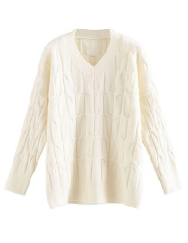 Fashion White Twisted Eight V-neck Pullover