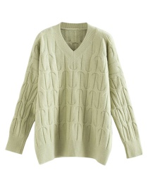 Fashion Green Twisted Eight V-neck Pullover