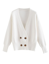 Fashion White Solid Button Cardigan