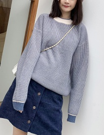 Fashion Blue Small Plaid Pullover