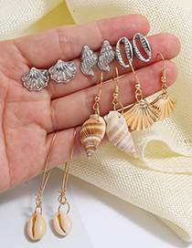 Fashion Gold + Silver Alloy Shell Conch Stud Earrings Set