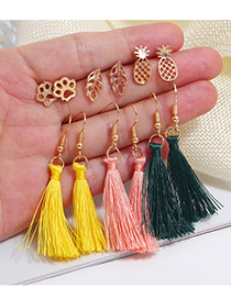 Fashion Gold Alloy Leaf Pineapple Cotton Line Tassel Earrings Stud Earrings Set